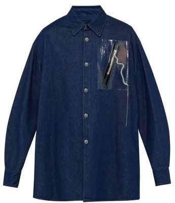 9040e4ad4 Raf Simons Zip Applique Denim Shirt - Mens - Navy