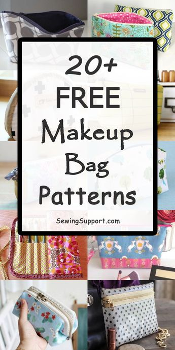 20+ Free Makeup & Cosmetic Bag sewing patterns and diy projects and tutorials. Small and large cases and pouches, brush holders, drawstring, boxy, square, round, zippered, and lined styles to sew. Great for travel. Instructions for how to make a makeup bag. #SewingSupport #BagPatterns #SewingPatterns #SewingProjects #DiyGifts