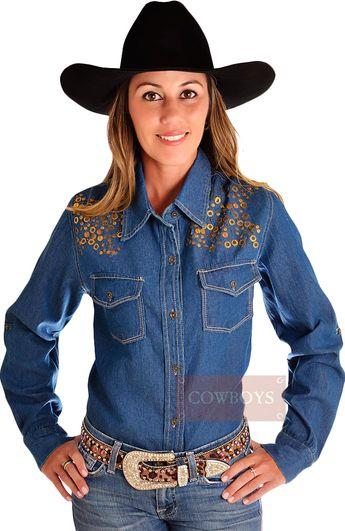 df16eb887 Loja Cowboys  lojacowboys · Camisa Estilo Jeans Beautiful Cowgirl. Camisa  estilo jeans com taxas na parte superior frontal