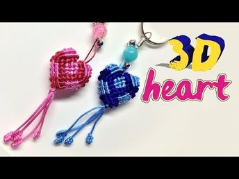 The most simple macrame 3D heart pattern with step by step tutorial - Hướng dẫn thắt trái tim 3D dễ - YouTube