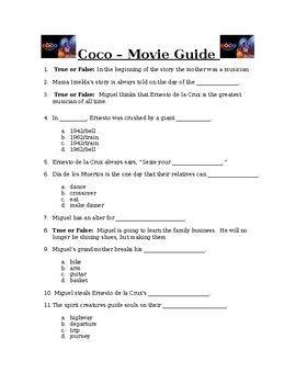 Disney Pixar Coco Movie Guide For Spanish Class No Prep Su