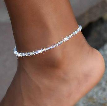 Crystal Ankle Bracelet, Swarovski Crystal, Stretch Anklel, Bridal Jewelry, Wedding Jewelry, Summer, Body Jewelry