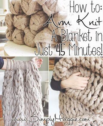 DIY Arm Knit Blanket Free Knitting Pattern in 45 Minutes - Video