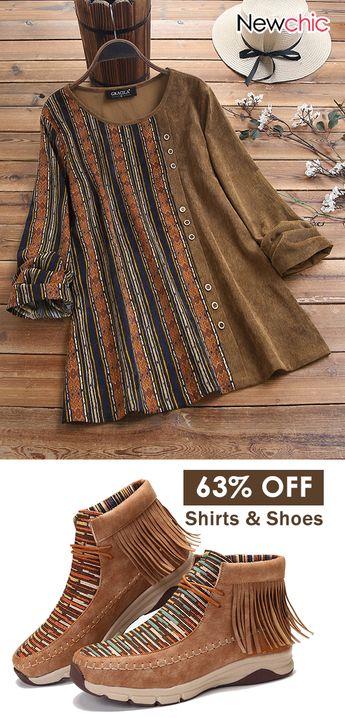 #Newchic5thAnniversary women fashion shirts & shoes. #casualshirts #comfytops