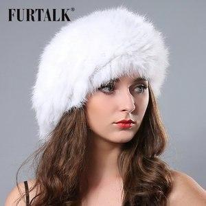 598007fbfcd64 Fur talk hand knited Flexible natural rabbit fur bobble hat beret Russian  winter fur hats for