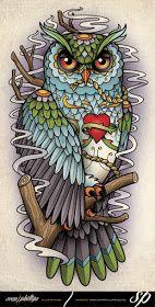 Sams Blog: Sugar Skull Owl Half Sleeve Tattoo