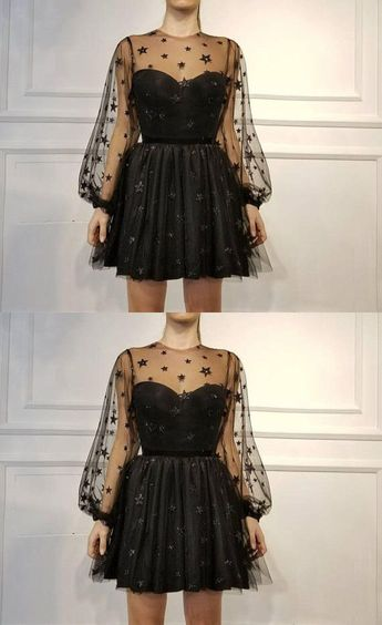 Party Clothes Black - Spaghetti Straps Homecoming Dress,Sexy Black Short Party Dress