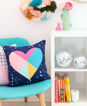 Navy Geometric Heart Throw Pillow Case only