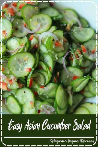 10 Minute Asian Cucumber Salad Recipe made with crunchy cucumber, onion, rice wine vinegar, and a few secret ingredients! An easy, light, refreshing Cucumber Salad that's guaranteed to be a hit.