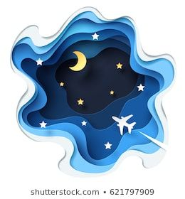 Abstract of little plane flying through cloud to sky at night, paper art and origami concept and tourism idea, vector art and illustration.