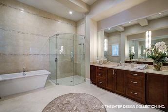 His and Hers walk-in closets are adjacent to this lovely Master Bath in the Anvard House Plan by the Sater Design Collection of Luxury Home Plans  #masterbath #houseplans