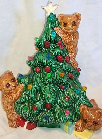 $49.96 or best offer Vintage Ceramic Christmas Tree Unique bears Realistic Eyes  #christmas #vintagechristmas #christmastree