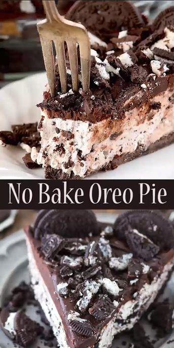 Easy to make no bake oreo pie with oreo crust! Gluten free option and only 8 ingredients, people LOVE this oreo pie! #oreopie #nobakeoreopie