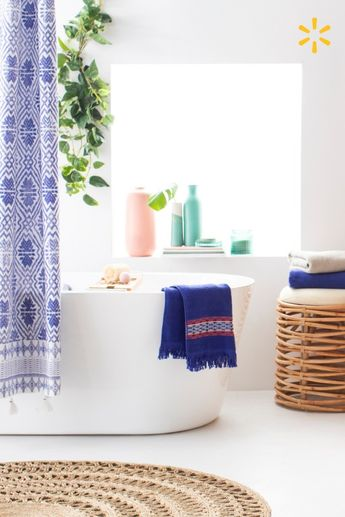 Refresh your bath with color & texture from Drew's wonderful new collection for Walmart. It's as simple as adding a printed shower curtain, natural textures & a few pieces of boho decor.
