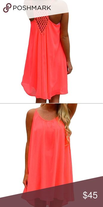 Fluorescent Bathing Suit Cover Up Polyester Chiffon. Soft , light and comfortable. Inner lined and stretchy . First layer is not stretchy . Front high, back low. Swim Coverups