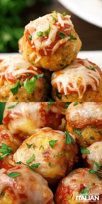 Chicken Parmesan Meatballs are your favorite chicken Parmesan transformed into these tender and flavorful, saucy baked chicken meatballs.Topped with the perfect blend of ooey gooey cheese. You're going to love 'em! #ChickenParmesan #Meatballs