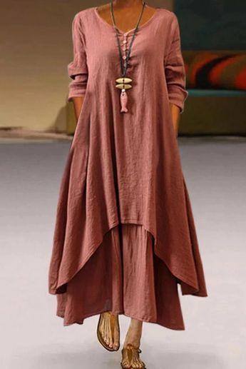 Long Sleeves Linen Casual Paneled Maxi Dress