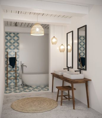 Une baignoire dans la salle de bain: inspiration style Contemporain Scandinave, Bambou Céramique Miroir, en Bleu Blanc Marron
