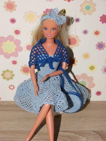 Puppenkleidung - Barbie Kleid (gehäkelt), weiß/hellblau -