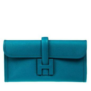 30c593da4840 Hermes 29cm Epsom Bleu Izmir Blue Jige Elan Clutch Bag