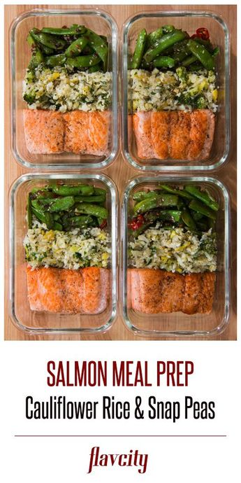 Crispy salmon filets served with low carb cauliflower rice and blistered snap peas. Lots of flavor in this easy meal prep for the week. #mealprep #salmonmealprep #salmonrecipes #snappeas #cauliflowerrice #weightloss #weightlossmeals