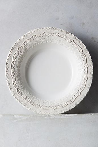 Anthropologie Merletto Soup Bowl, Glazed Earthen Ware, White, aflink