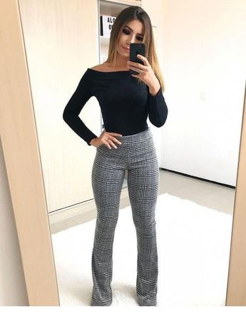 Black blouse and plaid pants
