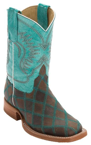 084c937fe81 Anderson Bean® Kids Light Brown   Dark Brown Patchwork Square Toe Cowboy  Boots