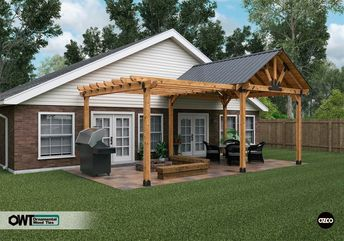 Create a space fit for sunny and rainy days, a pergola for sun and a pavilion for cover. On the pergola side a traditional post and beam construction with an open roof and breathtakingly beautiful design will last you for many years, bringing your family and friends together on warm summer evenings. The pavilion side ensures durability and sturdiness of the structure. Apart from that, a unique classy design complements any backyard setting.