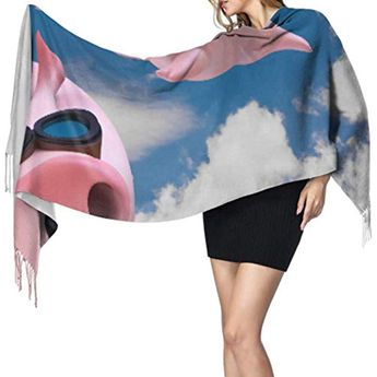 Three Funny Sky Diving Flying Piggies Scarf Cashmere Scarf With Fringe Scarfs Lightweight 77x27/196x68cm Large Soft Pashmina Extra Warm