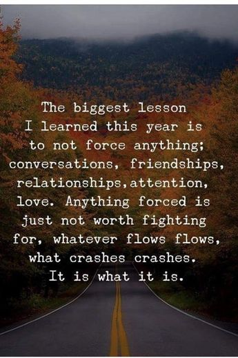 Anything forced is ugly. Go with the flow.