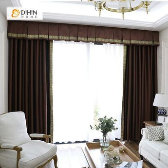 DIHIN HOME Exquisite Solid Brown Printed Valance,Blackout Curtains Grommet Window Curtain for Living Room ,52x84-inch,1 Panel