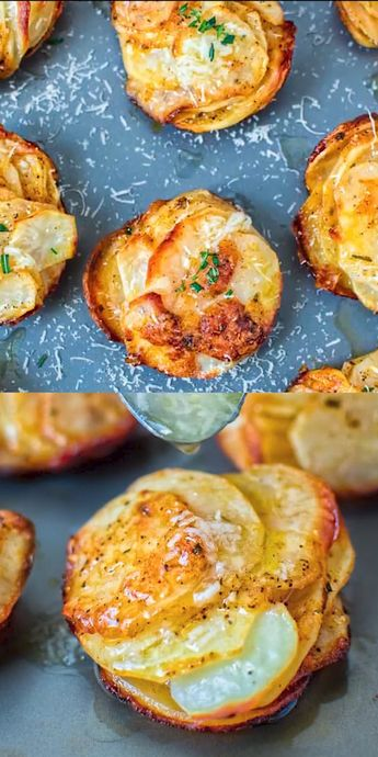 The combination of Parmesan, rosemary, paprika, and butter make these Parmesan Potato Stacks simply irresistible. And to top it off, I suggest sprinkling these with some garlicky oil for extra aroma and flavor. #parmesan #potatoes #dinner #vegetarian #videorecipe #recipeoftheday