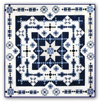 Midwinter Blues Batik King Size is Back!   Block of the Month or All at OnceStart Anytime! by Whirligig Designs