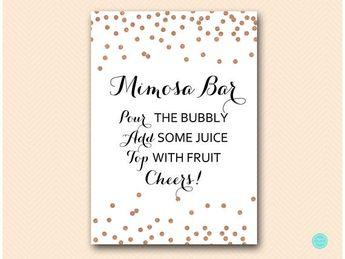 rose gold glitter mimosa bar sign mimosa bar printable bubbly bar sign mimosa