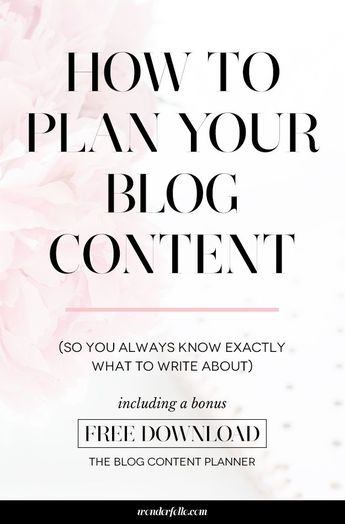 How To Plan Your Blog Content (So You Always Know Exactly What To Write About) - Elle Drouin   wonderfelle MEDIA