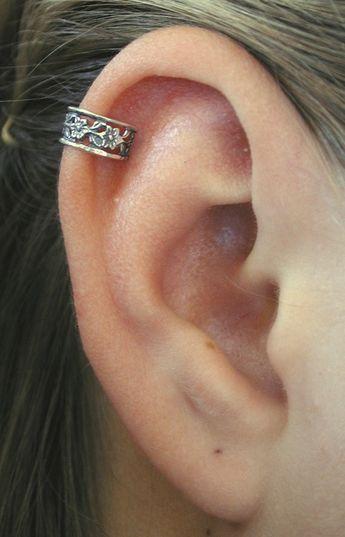 PIERCED EAR CUFF - Floral Lace - Ear Cuff - Helix Earring - Helix Piercing -Ear Wrap -Cartilage Piercing -Cartilage Earring -Silver Ear Cuff