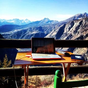 Business traveler @tammapaola finds a paradise office spot in #chamois #italy #businesstravel #views #nosnow #peaceofmind #workfromanywhere #laptoplifestyle #computer #locationindependent #officetoday #officewithaview
