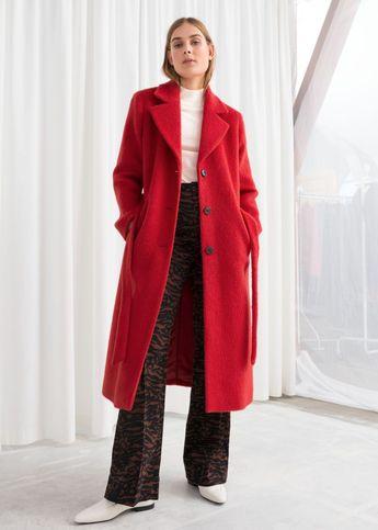 Oversized Alpaca Blend Coat - Red - Woolcoats