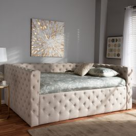 Baxton Studio Anabella Modern & Contemporary Light Beige Fabric Upholstered Full Size Daybed - CF8987-B-Light Beige-Daybed-F