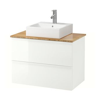 "GODMORGON/TOLKEN / TÖRNVIKEN Vanity, countertop and 17 3/4"" sink, high gloss white, bamboo"