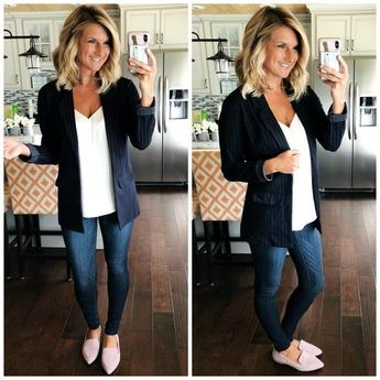 Love it all!  Liverpool suit broken up - Casual Office Wear // Casual Office Outfit // Work Wear // Business Casual Outfit // What to Wear to Work // Blazer // Non Sheer White Cami // White Cami with Skinny Jeans and Blazer // Pointy Toe Flats // Slip On Flats //
