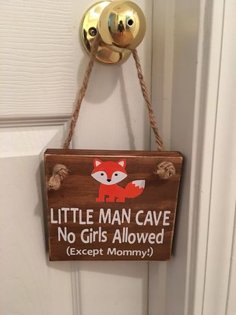 Adorable Rustic Little Man Cave No Girls Allowed (Except Mommy!) ™ With a Fox Wooden Door Sign for Little Boys Room / Nursery