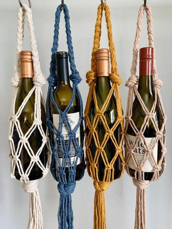 Macrame Wine Tote // Wine Gift Bag // Wine Bottle Holder // Wine Accessories // Gift for Wine Lover