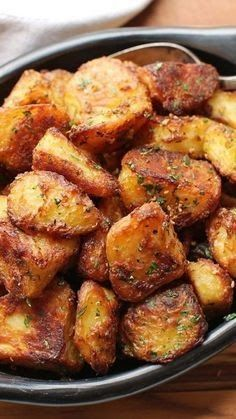 The Best Crispy Roast Potatoes Ever  Ingredients  Kosher salt  1/2 teaspoon (4g) baking soda  4 pounds (about 2kg) russet or Yukon Gold potatoes peeled and cut into quarters sixths or eighths depending on size (see note)  5 tablespoons (75ml) extra-virgin olive oil duck fat goose fat or beef fat  Small handful picked rosemary leaves finely chopped  3 medium cloves garlic minced  Freshly ground black pepper  Small handful fresh parsley leaves minced  Directions  1.  Adjust oven rack to center pos