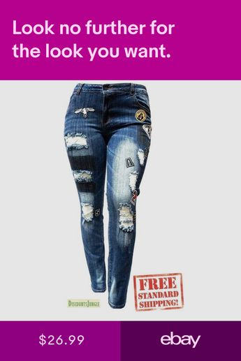 5fd28402 WOMENS PLUS SIZE Ripped Distressed Patches BLUE Denim Jeans Patch Stretch  pants