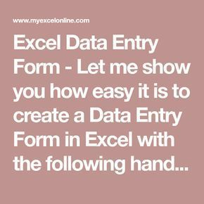 Create a Data Entry Form in Excel | Free Microsoft Excel Tutorials