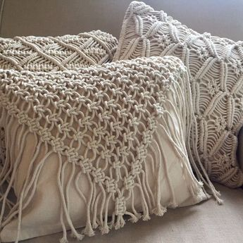Macrame Pillow Cover Decorative Square Cushion Case Pillowcase for Sofa Bedroom Boho Home Decor