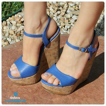 1864c701f1 salto alto - sandália anabela - azul bic - heels - Ref. 14-13627