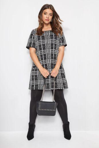 Black Jacquard Check Tunic Dress, Plus size 16 to 40